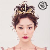 Wholesale Vintage Gold Swan Swarovski Bridal Tiaras Crowns Baroque Pearls Metal Wedding Hair Jewelry Bridal Headband Headpieces Hair Accessories Cheap