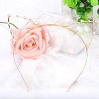 Wholesale US Stock Fashion Party Pearl Crystal Rhinestone Headwear Punk Hair Wrap Cat Ear Headband Silver Gold Color X YY MPJ060 M2