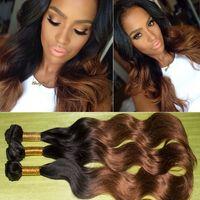 Wholesale Top Quality Ombre Virgin Hair Extentions Double Weft Brazilian Body Wave Human Hair Bundles B B Mix