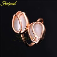 Cheap 010 High Quality Wedding & Party Jewelry 18K Rose Gold Plated Gorgeous Flower White Opal Tulip Ring For Women 2014 New