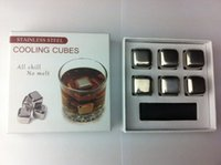 Wholesale Set of stainless steel whisky stones wine beer cooler metal ice cube bar accessories