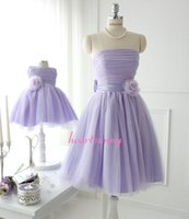 Real Photos ribbon bow and flowers - Purple A line Bridesmaid Dresses Short Cocktail Dresses with ruffle flowers on front ribbon and bow on back Mini Bridal Gowns C003