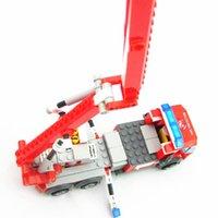 Cheap KAZI 8053 244pcs Fire Fight Aerial Ladder Truck Car Model 3D DIY construction educational plastic Building Blocks Sets toys Best Gift