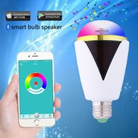 Wholesale Smart Bluetooth LED Light Bulb Speaker Smartphone Controlled Dimmable Multicolored Color Changing Lights Works for iPhone iPad Android Table