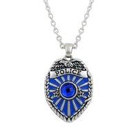 antique police - 100pcs Blue Enamel Police Badge Zinc Alloy Metal Antique Silver Pendant Necklace DIY Handmade Jewlery