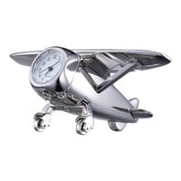 Mechanical antique metal glider - New Creative Desk Clock Glider Plane Style Silver Alloy Material High Quality Quartz Analog Watch Great Personality RR209