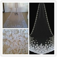 Wholesale 2015 Charming Best Sale Cheap Long Veils Long Lace Flowers White Ivory Champagne Applique Free Comb Bridal Accessories For Wedding