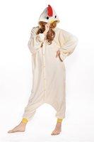 adult footed sleepwear - White Chicken New Winter Pajamas Unisex Romper Pajamas Adult Cosplay Costumes Sleepwear Adult Onesies Womens Footed Pajamas P041