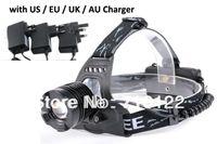 Wholesale 1800 Lumens CREE XM L XML T6 LED Headlamp Headlight Flashlight Head Lamp Light Charger for Hunting Camping