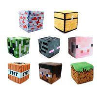 Wholesale Minecraft Cube Pillow Plush STEVE CREEPER TRAPPED CHEST PIG Pillow cm Minecraft creeper Plush dolls Toys