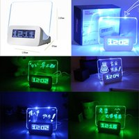 Wholesale Xmas Gift Romantic Highstar USB Port LED Luminous Message Digital Alarm Clock Hub Calendar Night backlit Note Reminder board Alarm Clocks