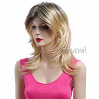 Wholesale Gradient Color women wigs medium long hair wigs blond wigs weaves real looking kanekalon prs D3690