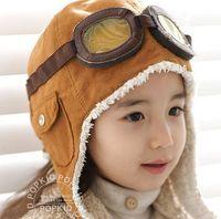 Wholesale Cap Hat Air - High quality Fashion StyleNew Cute Baby Toddler Boy Girl Kids Pilot Aviator Cap Warm Hats Earflap Beanie Ear muff cap air force cap Warm