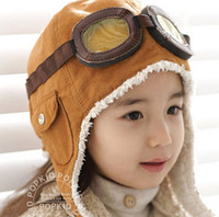 Boy air hat - High quality Fashion StyleNew Cute Baby Toddler Boy Girl Kids Pilot Aviator Cap Warm Hats Earflap Beanie Ear muff cap air force cap Warm
