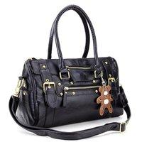 Wholesale New Hotsale Promotion Sac a main porte main noir pour femmes cuir PU en rayure rocher ave un petit ours