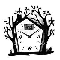 acrylic house numbers - Acrylic Number Tree House Wall Clock Home Room Bedroom Art Modern Decor
