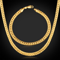 Wholesale New Trendy K Stamp Necklace Set Men Jewelry K Real Gold Plated Chain Necklace Bracelet African Jewelry Sets