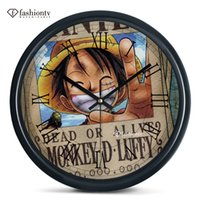 animated pirate - Pirates pirates Wang Mengji D luffy wall clock animated cartoon bedroom wall hanging mute electronic clock