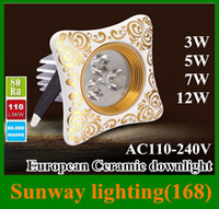 beds for hotel - LED recessed lights celling lamp Classical European ceramic gorgeous spotllight W W W W Gold Silver square downlight for hotel and home