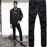 branded jeans - 2016 Mens Balmain Newest ripped black Men Brand Skinny Jeans Runway Destroyed Denim Biker jeans Hip Hop Pants Washed Black Jeans