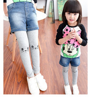baby jeans leggings - The new baby girls fall clothing cultivate one s morality leggings false children jeans trousers autumn outfit BH1200