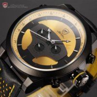 auto zone hours - New Series Shark Hands Leather Band Calendar Hours Dual Time Zone D Dial Black Yellow Multifunction Men Sport Watch SH208