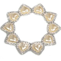 Wholesale 21mm pearl heart diamond buckles shine buckle full of glossy crystal for wedding ribbon