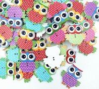 Wholesale 20 Mixed Owl Shape Pattern Wooden Buttons Fit Sewing Scrapbook DIY Making Hot