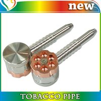 pipe smoking - Smoking Pipes Bullet Shaped layered Metal Alloy Tobacco Grinder Pipe Cigar Spice Crusher Cigarette Rolling Machine Rubblet Rotating pipe