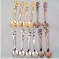Wholesale New pieces cm Stainless steel vintage roses gold silver spoons coffee retro ice cream jam tea spoon Home decoration