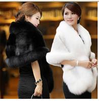 faux fur - High Quality Faux Fur Wedding Wraps Elegant High Neck White Black Bridal Shawls Wedding Accessories