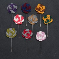 Middle Eastern asian wedding suits - Cloth Flower Mens Brooches Pins Corsage Collar Korean Style In Stock Lapel Safe Pins Wedding Party Evening Gift For Mens Suit