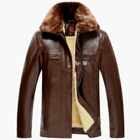 Wholesale Fall mens leather jackets and coats xl mens suede jackets and coats genuine sheep skin leather winter jacket men fur collar