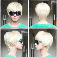 Wholesale 1PCS Mens Boys New Trendy Short Straight Platinum Blonde Wig Cosplay Party Costume Hot Sale