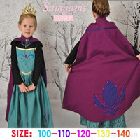 6T+   100pcs 2015 NEW girls Frozen Anna costume princess dress cartoon summer lace dresses with a cloak baby kids party clothes