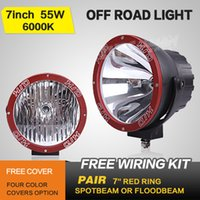Wholesale FREE FEDEX SHIPPING INCH E W RED RING HID DRIVING LIGHT XEON SPOT EURO WORK LIGHT4X4OFFROAD FOG LAMPSUV MARINE ATV12V24V