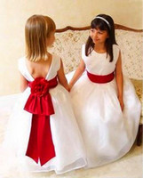 Girl cheap handmade wedding dresses - Cheap Organza flower girl dresses Crew A Line With Handmade Flower Sash Zipper Backless White Junior Bridesmaid dresses zahy637