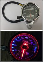 Wholesale New Style Motorcycle Refit LED Odometer Double meter odometer Electroplate Black background Haley Retro General Small meter