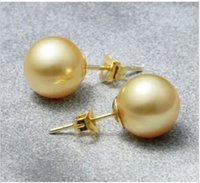 australian post - 2016 new PAIR OF MM NATURAL AUSTRALIAN SOUTH SEA GENUINE GOLD PEARL EARRING K POST