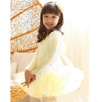 Wholesale Free freight Years Kid Long sleeve dress lace purple and yellow girl tutu dance dress baby skirt Stage dress size M XXL