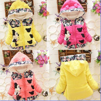 Wholesale 2015 Fashion Cotton Children Minnie hoodie Thickened Girls Coats Long Sleeve Korean Style Kids Outwear Candy color with flowers fit Y E