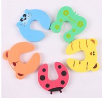Wholesale Cute Baby Door Stopper Safety Finger Pinch Guard Protector Baby safety gate card Animal model