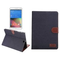 P600 folio leather cover - Jeans Kickstand Foldable Card Holder frame TPU PU leather case for samsung galaxy TabA T550 TabE Tab S T700 T800 Tab Pro T320
