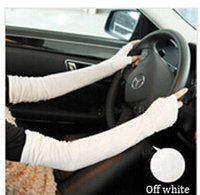 arm visor - NEW lace long double UV Protective Arm gloves Sleeves cuff sun visor cuff gloves modal Cycling Arm Warmers Sleevelet Cover