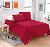 beddings set - Bedding Set Piece Duvet Cover set Solid Red Color with two colour embroidery Flat sheet fitted sheet pillowcase beddings set