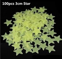 Wholesale 100Pcs Pack Stars Glow in the Dark Luminous Fluorescent Plastic Wall Stickers Wishing stars Luminous stickers glowing stars stickers Kid toy