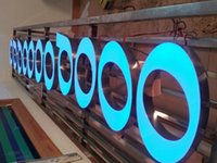 Wholesale 3D channel letters logo signs LED acrylic face illuminated lettering name brand signage blue front lit sign