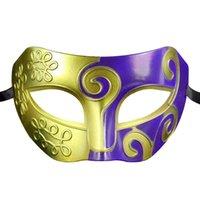 Wholesale 1PCS Antique Greek Roman Warrior Men Hallonween mask Half face painting Prince Baron party mask