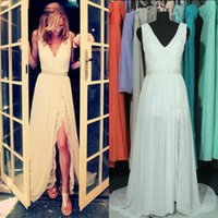 Wholesale 2015 Summer Real Image Bohemian Wedding Dresses Chiffon Beach V Neck Sleeveless Ruched Crystal Sash Sexy Split Lace Prom Dress Bridal Gowns