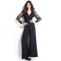 bell cakes - Women Rompers V Neck Long Sleeved Lace Stitching Piece Pants Increase Code Female Leisure Bell Bottoms Sell Like Hot Cakes
